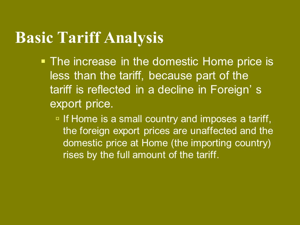 Basic Tariff Analysis