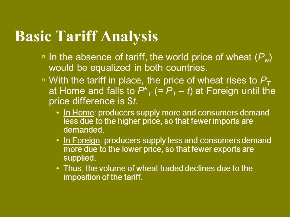 Basic Tariff Analysis In the absence of tariff, the world price of wheat (Pw) would be equalized in both countries.