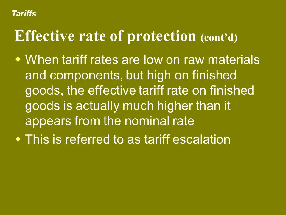 Effective rate of protection (cont'd)