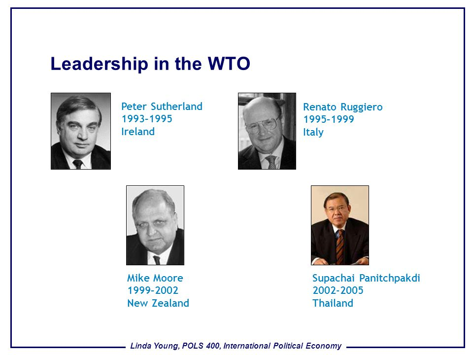 Leadership in the WTO Peter Sutherland 1993–1995 Ireland