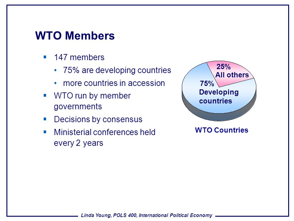 WTO Members 147 members 75% are developing countries