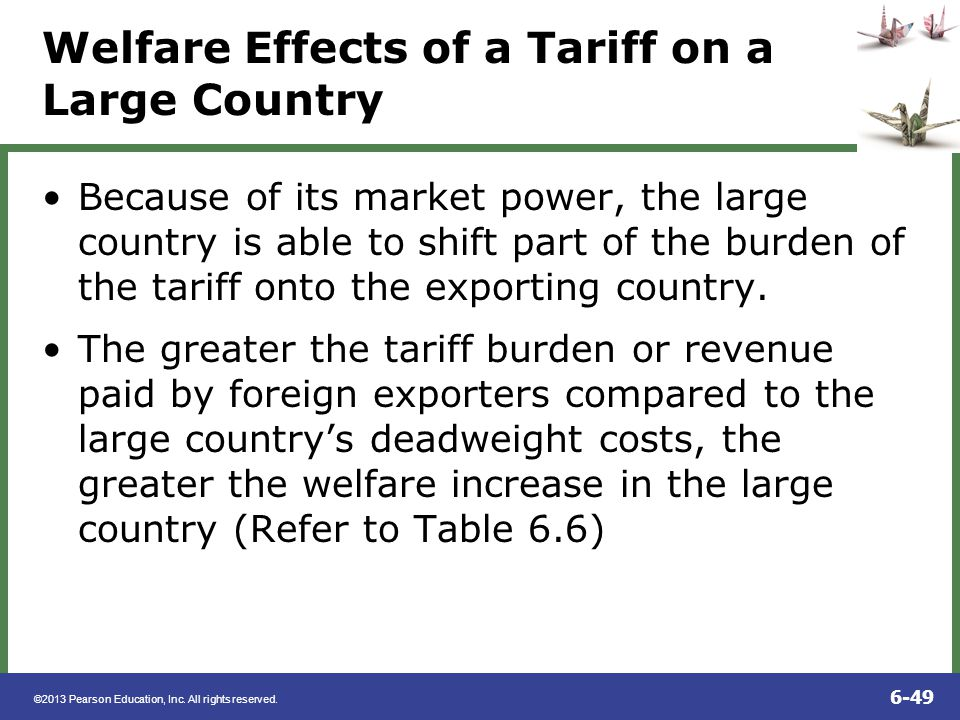 Welfare Effects of a Tariff on a Large Country