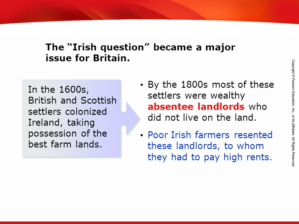 The Irish question became a major issue for Britain.