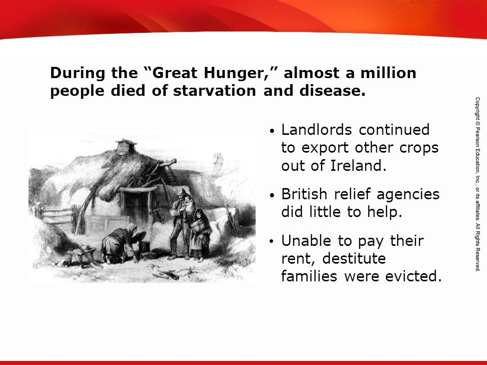 During the Great Hunger, almost a million people died of starvation and disease.