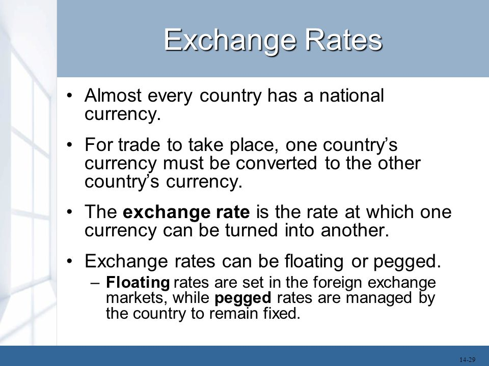 Exchange Rates Almost every country has a national currency.