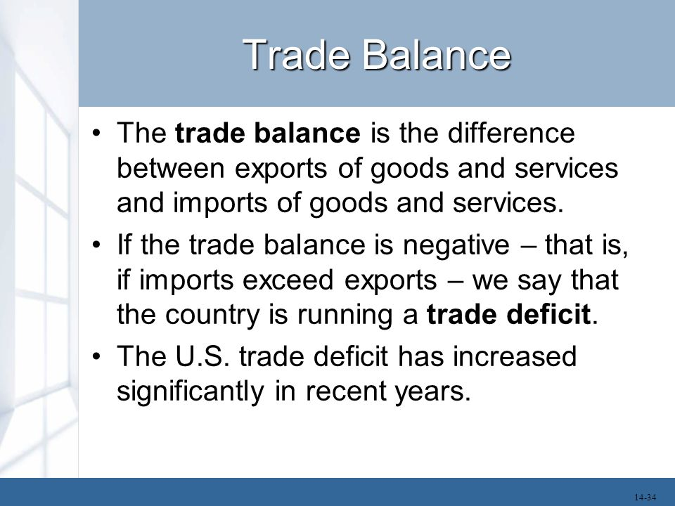 Trade Balance The trade balance is the difference between exports of goods and services and imports of goods and services.