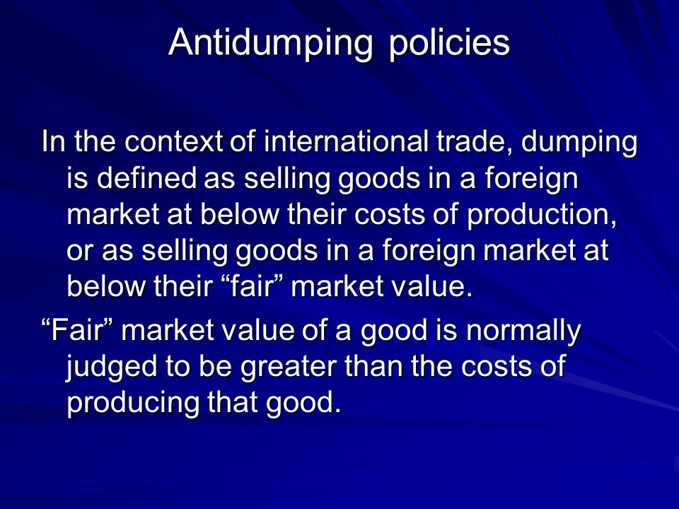 Antidumping policies