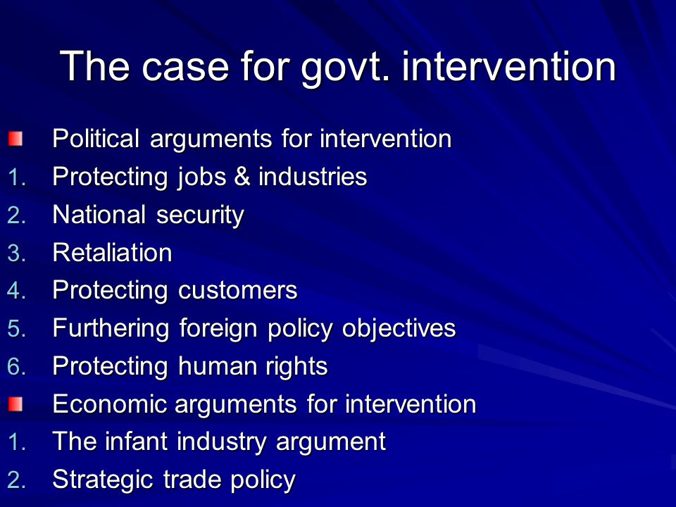 The case for govt. intervention