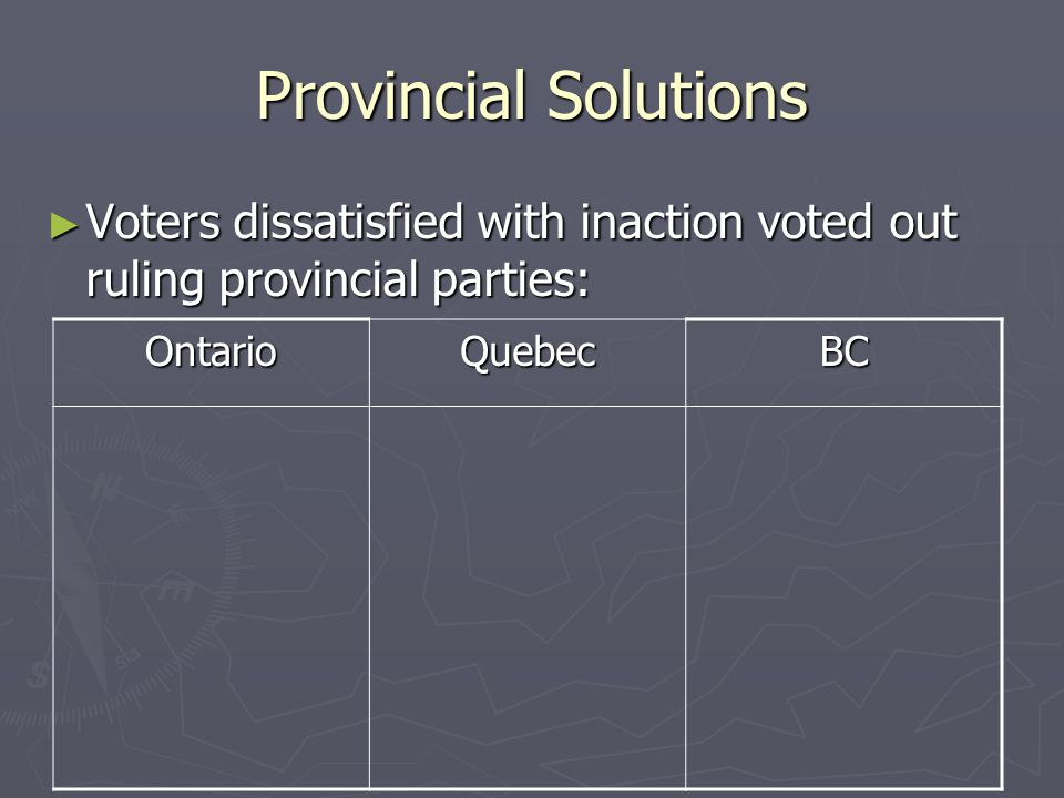 Provincial Solutions Voters dissatisfied with inaction voted out ruling provincial parties: Ontario.