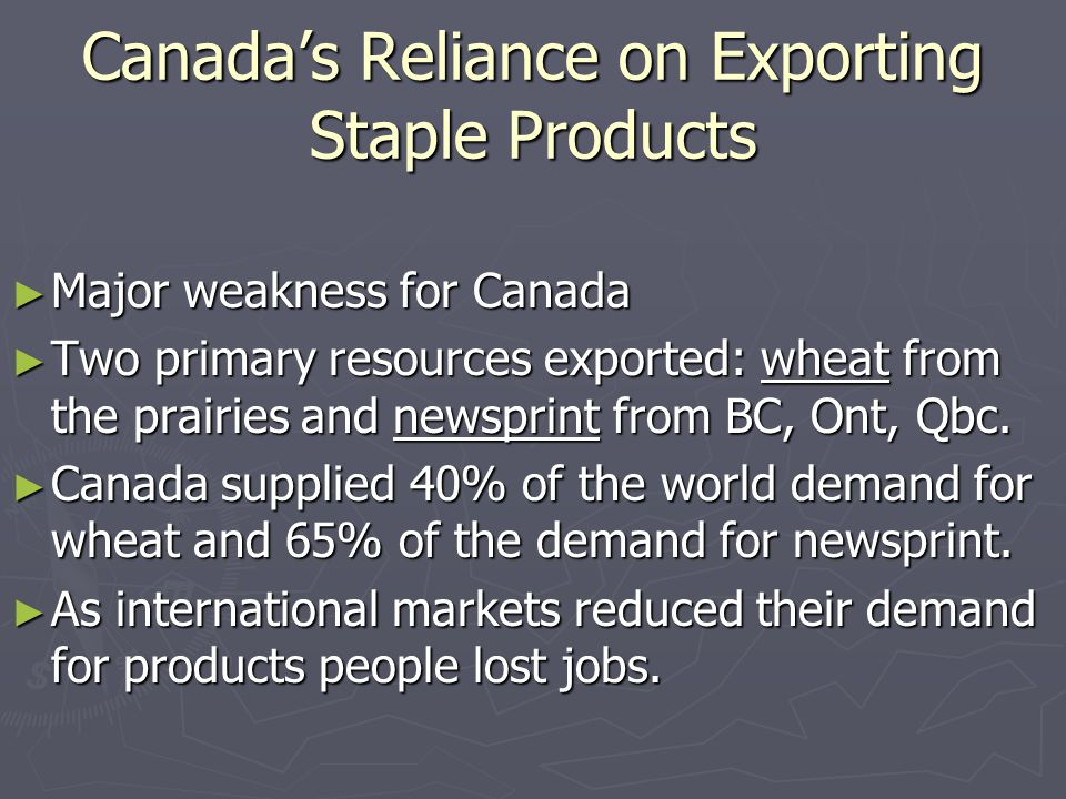Canada's Reliance on Exporting Staple Products