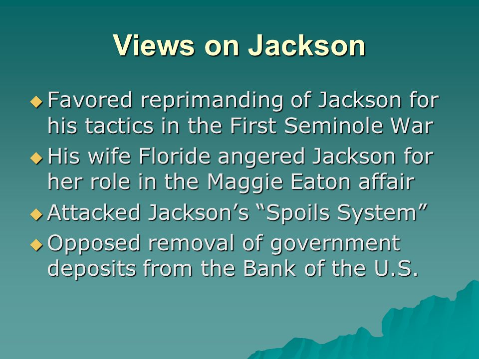 Views on Jackson Favored reprimanding of Jackson for his tactics in the First Seminole War.