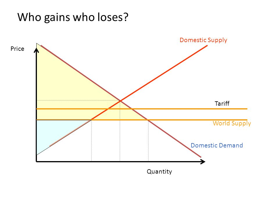 Who gains who loses Domestic Supply Price Tariff World Supply