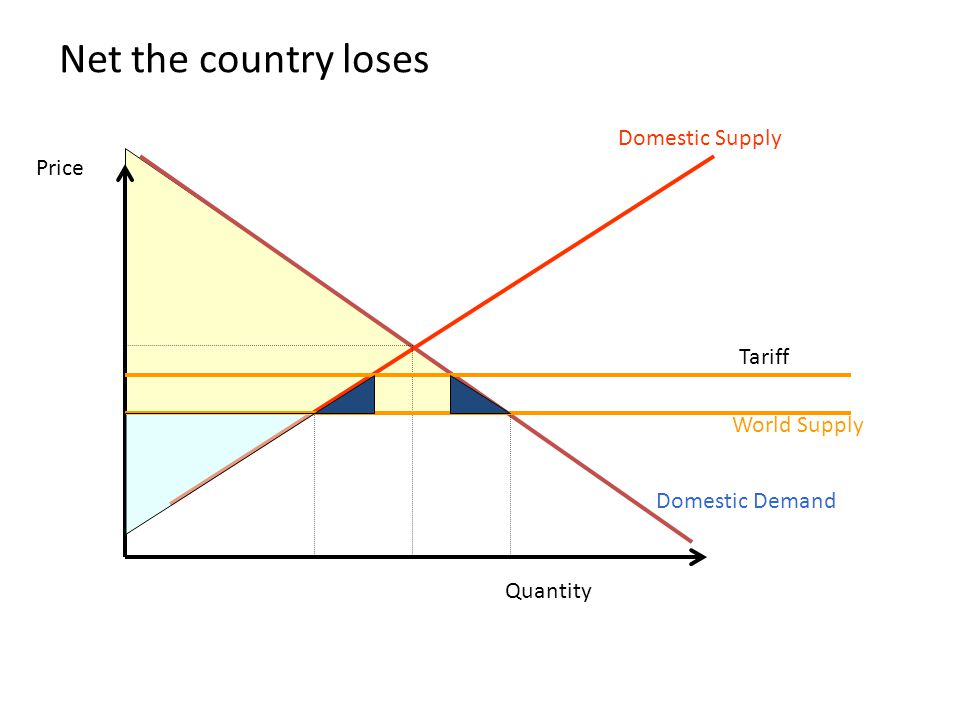 Net the country loses Domestic Supply Price Tariff World Supply