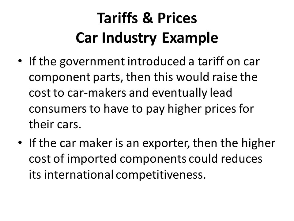 Tariffs & Prices Car Industry Example