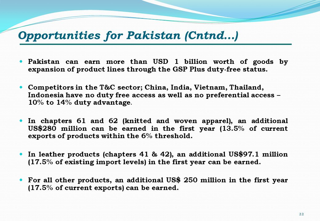 Opportunities for Pakistan (Cntnd…)