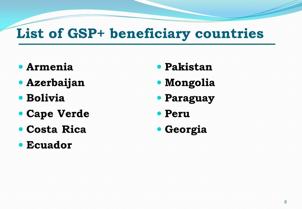 List of GSP+ beneficiary countries