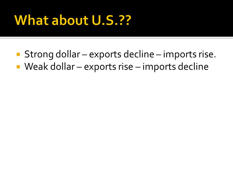 What about U.S. Strong dollar – exports decline – imports rise.