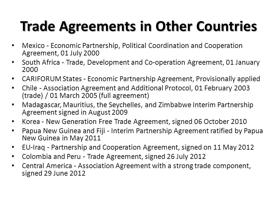 Trade Agreements in Other Countries