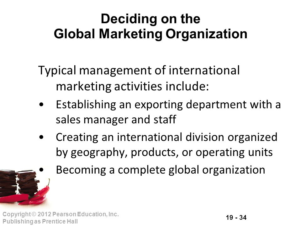 Deciding on the Global Marketing Organization