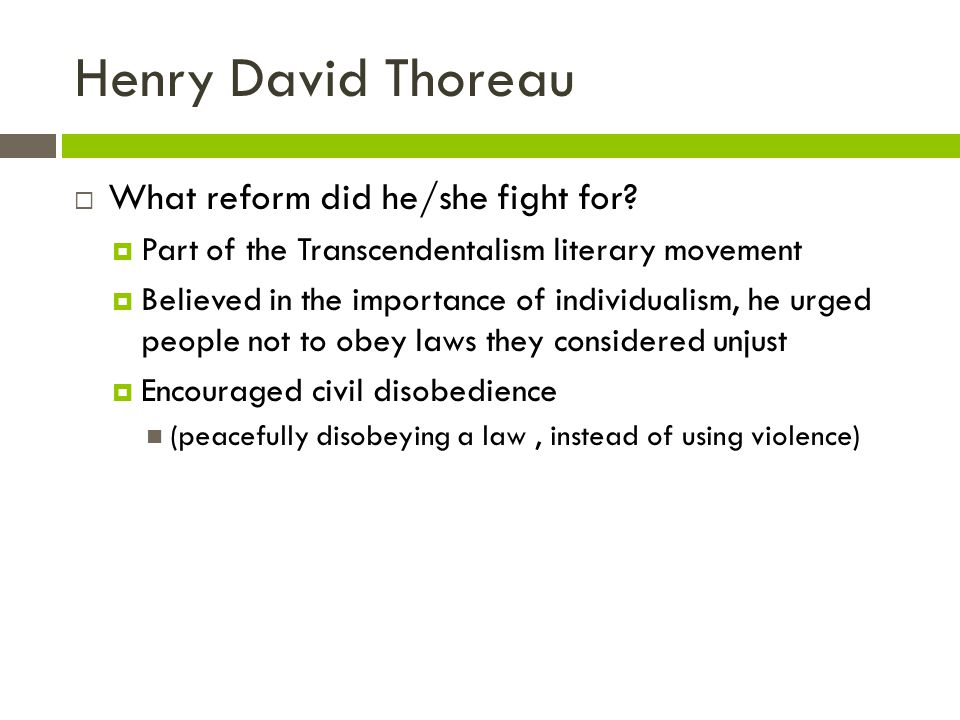 Henry David Thoreau What reform did he/she fight for