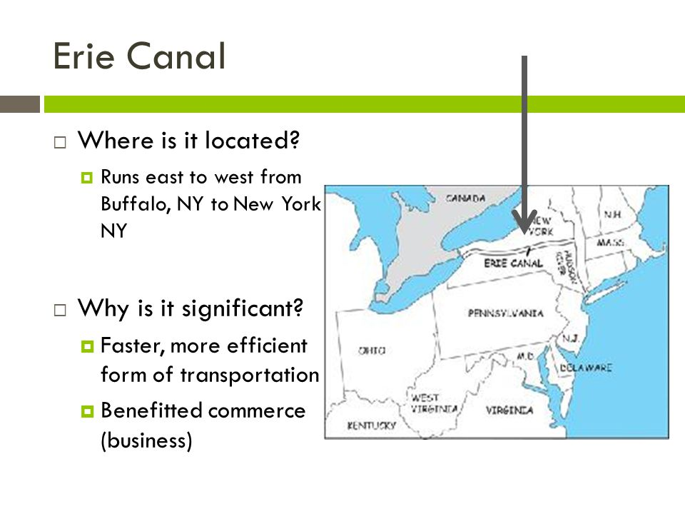 Erie Canal Where is it located Why is it significant