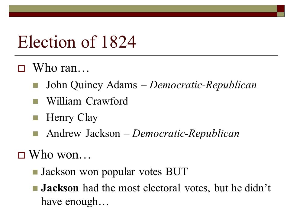 Election of 1824 Who ran… Who won…