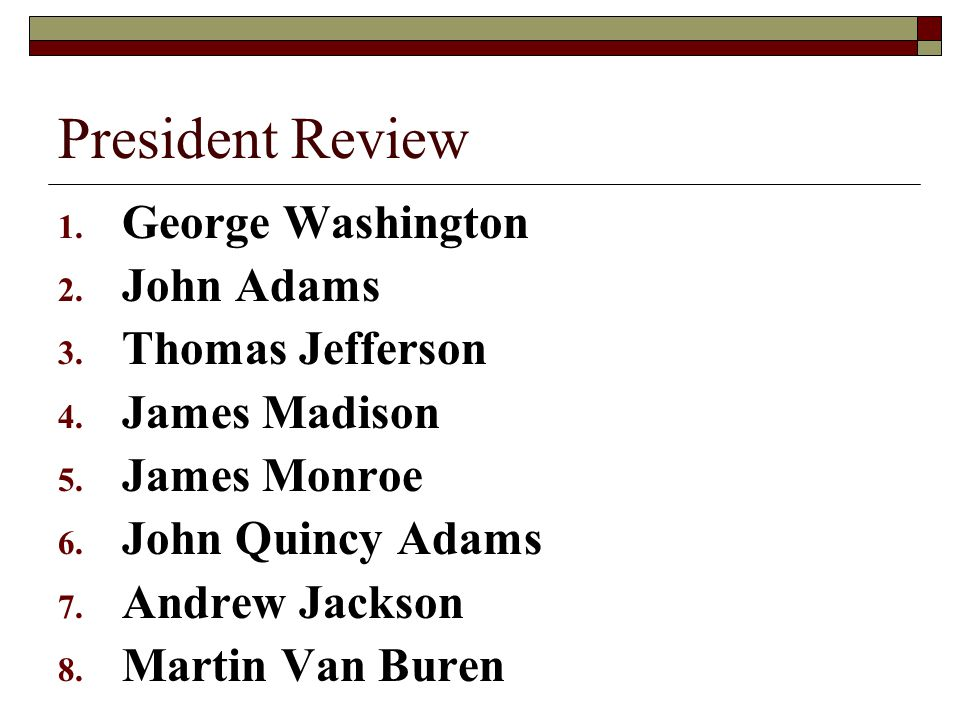President Review George Washington John Adams Thomas Jefferson