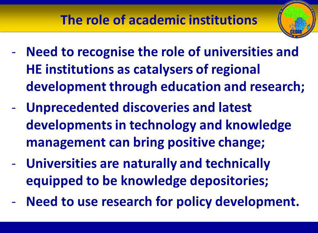The role of academic institutions