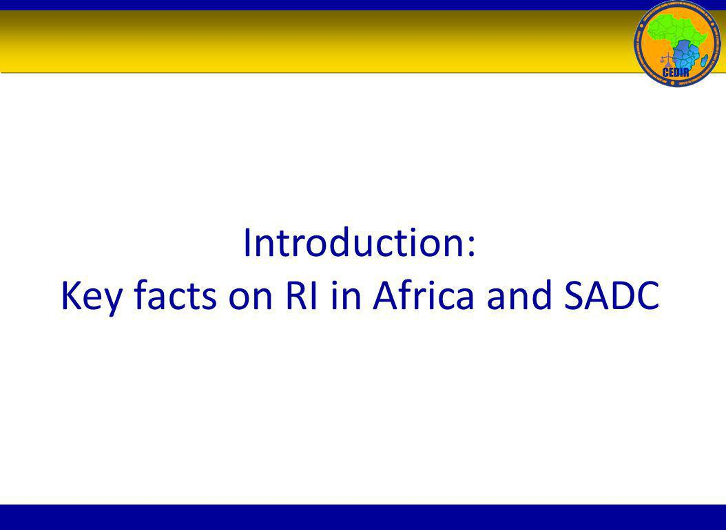 Introduction: Key facts on RI in Africa and SADC