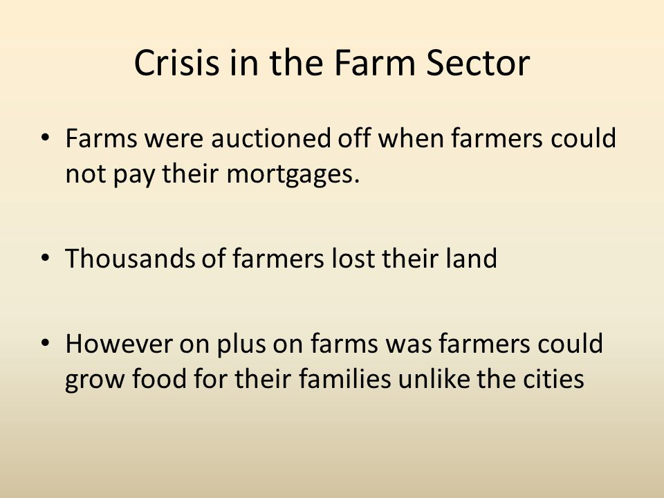 Crisis in the Farm Sector