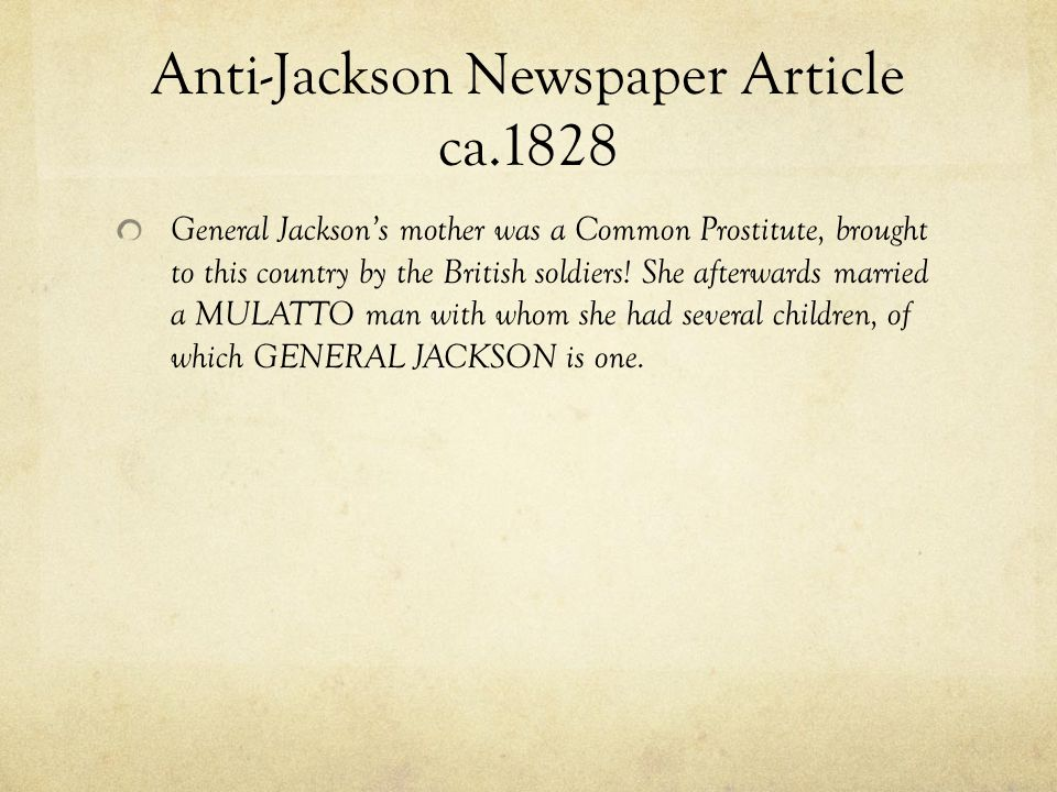 Anti-Jackson Newspaper Article ca.1828
