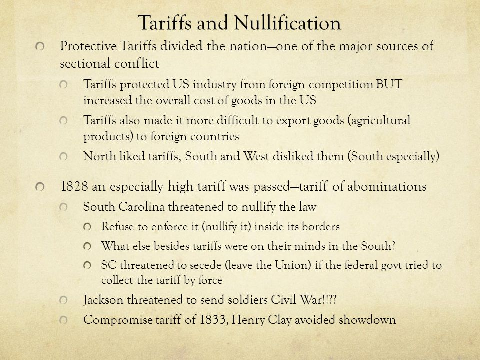 Tariffs and Nullification