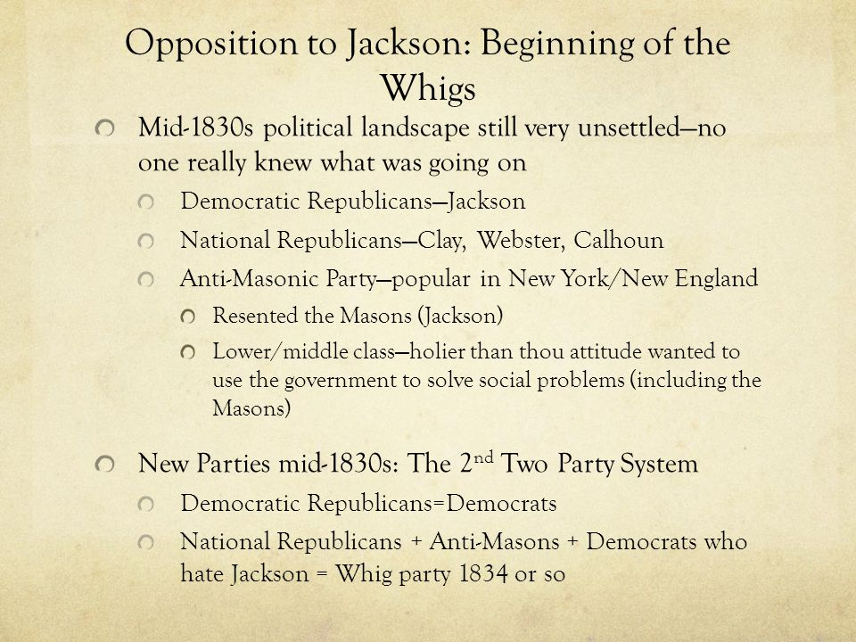 Opposition to Jackson: Beginning of the Whigs