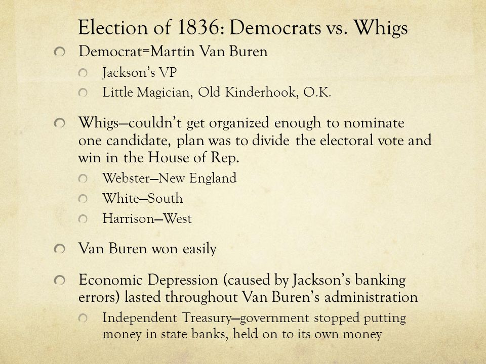 Election of 1836: Democrats vs. Whigs