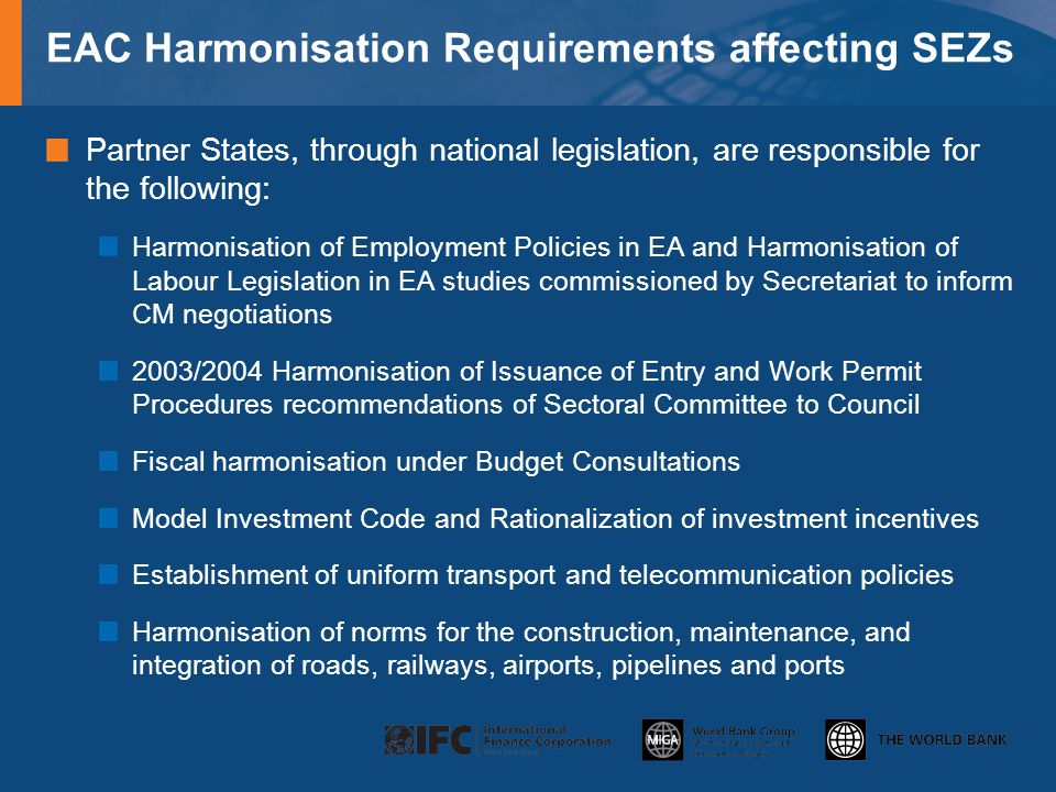 EAC Harmonisation Requirements affecting SEZs