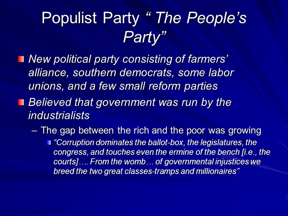 Populist Party The People's Party