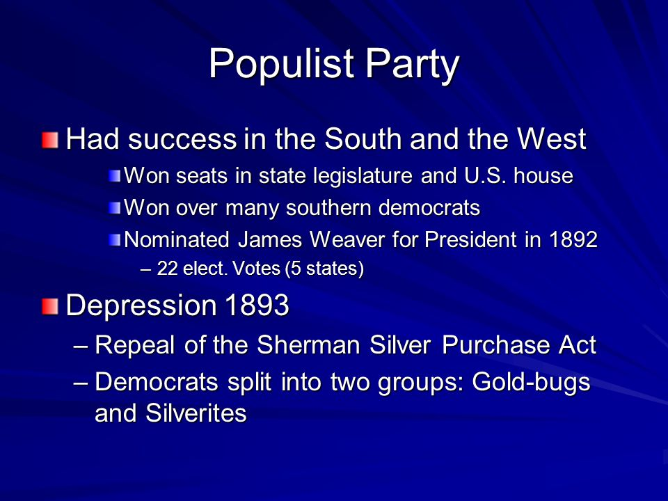 Populist Party Had success in the South and the West Depression 1893