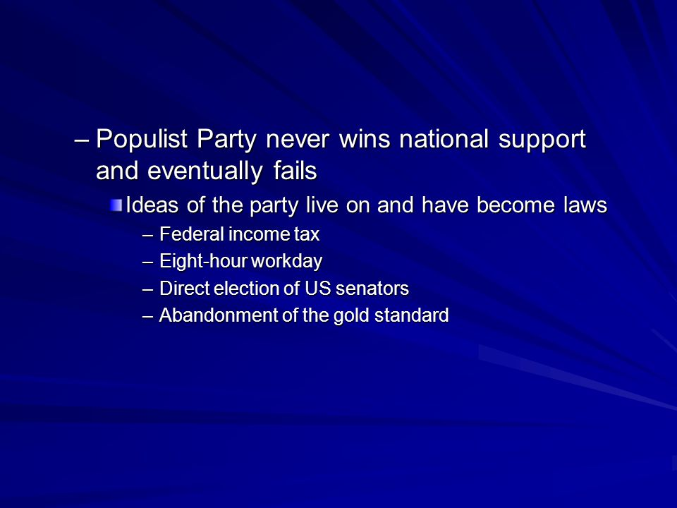 Populist Party never wins national support and eventually fails