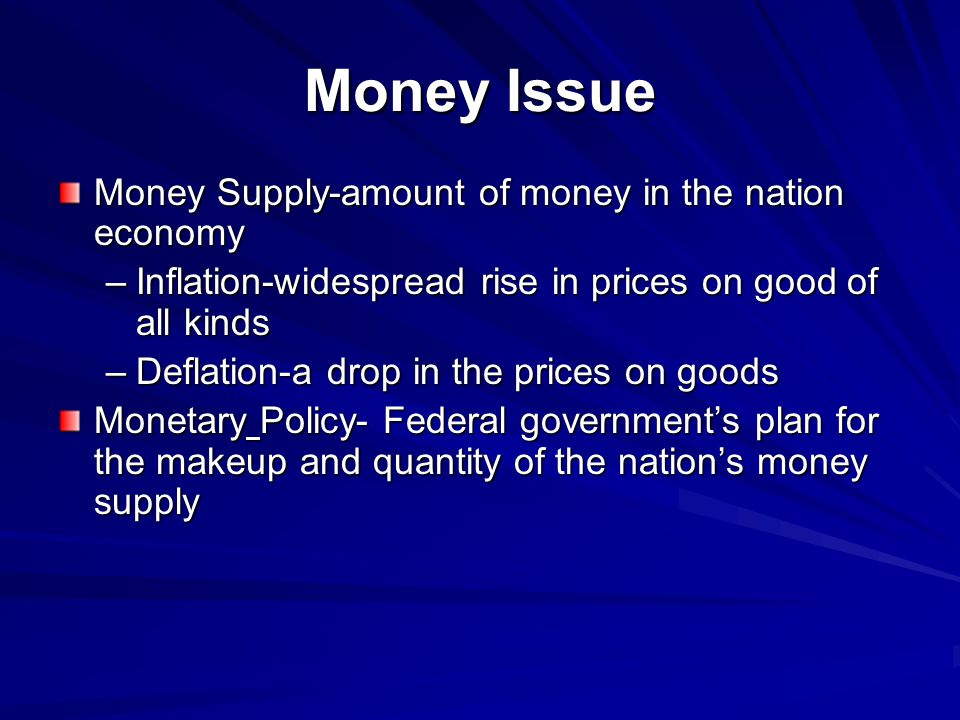 Money Issue Money Supply-amount of money in the nation economy