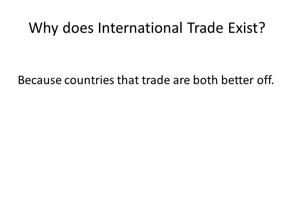 Why does International Trade Exist