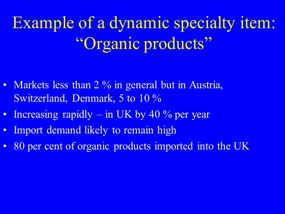 Example of a dynamic specialty item: Organic products