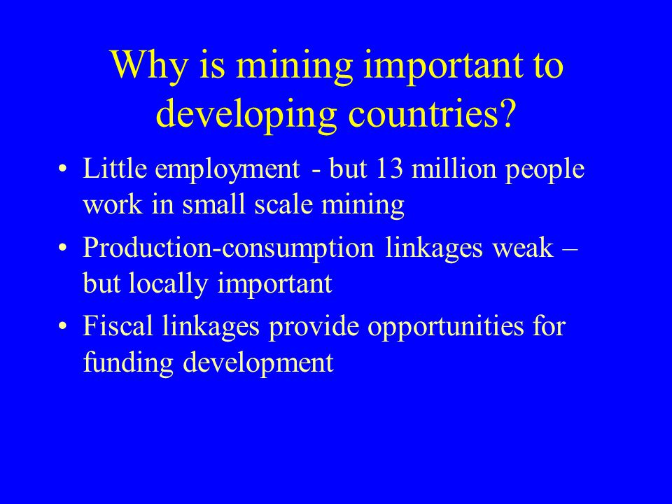 Why is mining important to developing countries