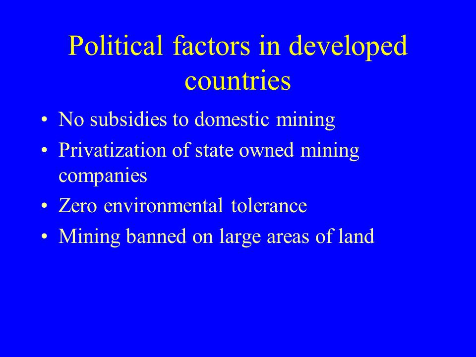 Political factors in developed countries