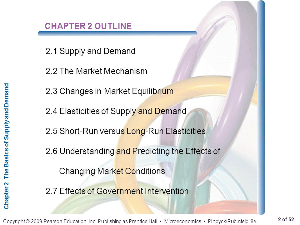 CHAPTER 2 OUTLINE 2.1 Supply and Demand. 2.2 The Market Mechanism. 2.3 Changes in Market Equilibrium.
