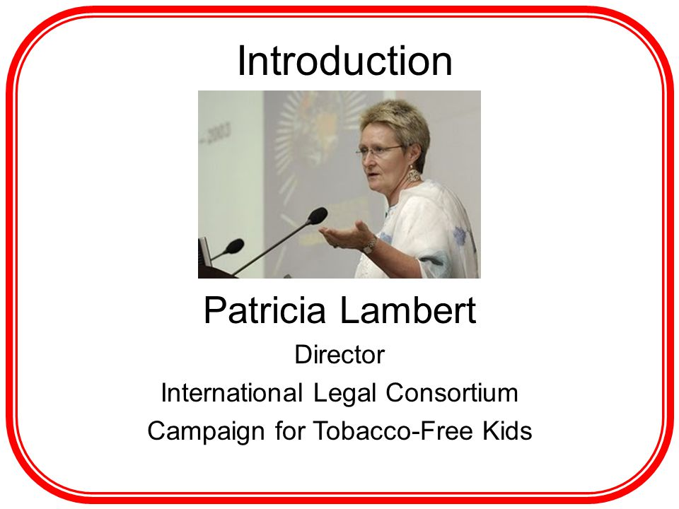 Introduction Patricia Lambert Director International Legal Consortium