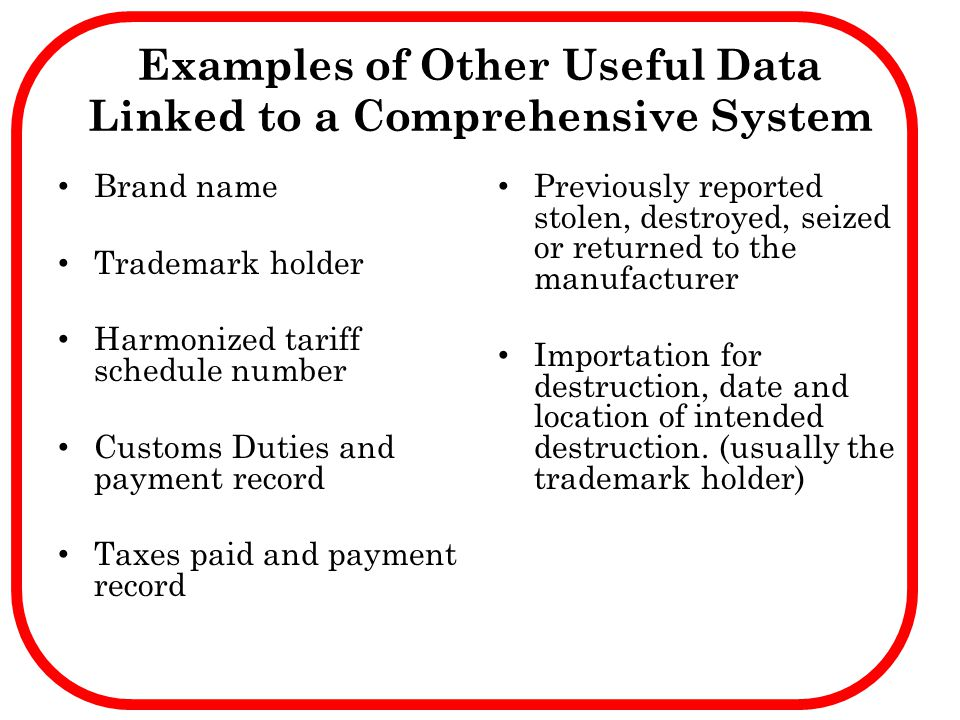 Examples of Other Useful Data Linked to a Comprehensive System