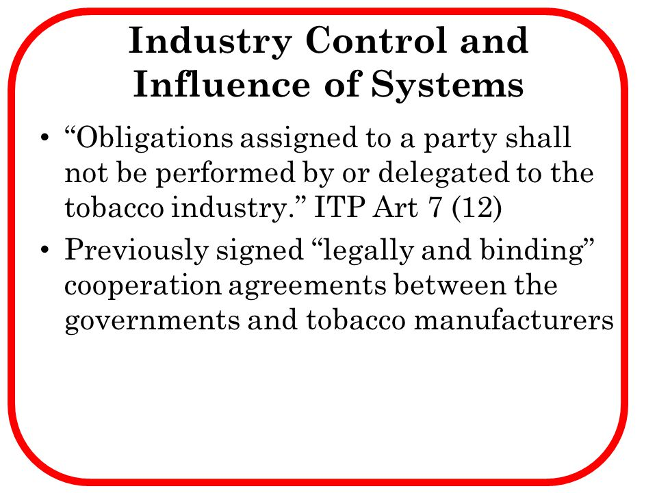 Industry Control and Influence of Systems