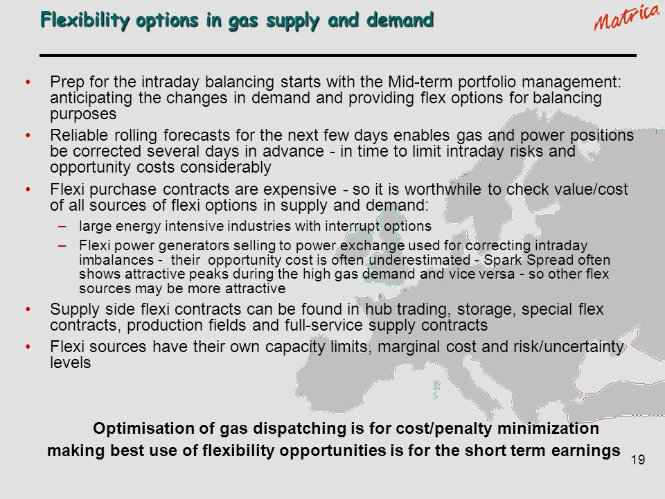 Flexibility options in gas supply and demand