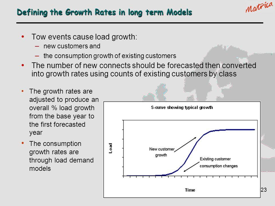 Defining the Growth Rates in long term Models