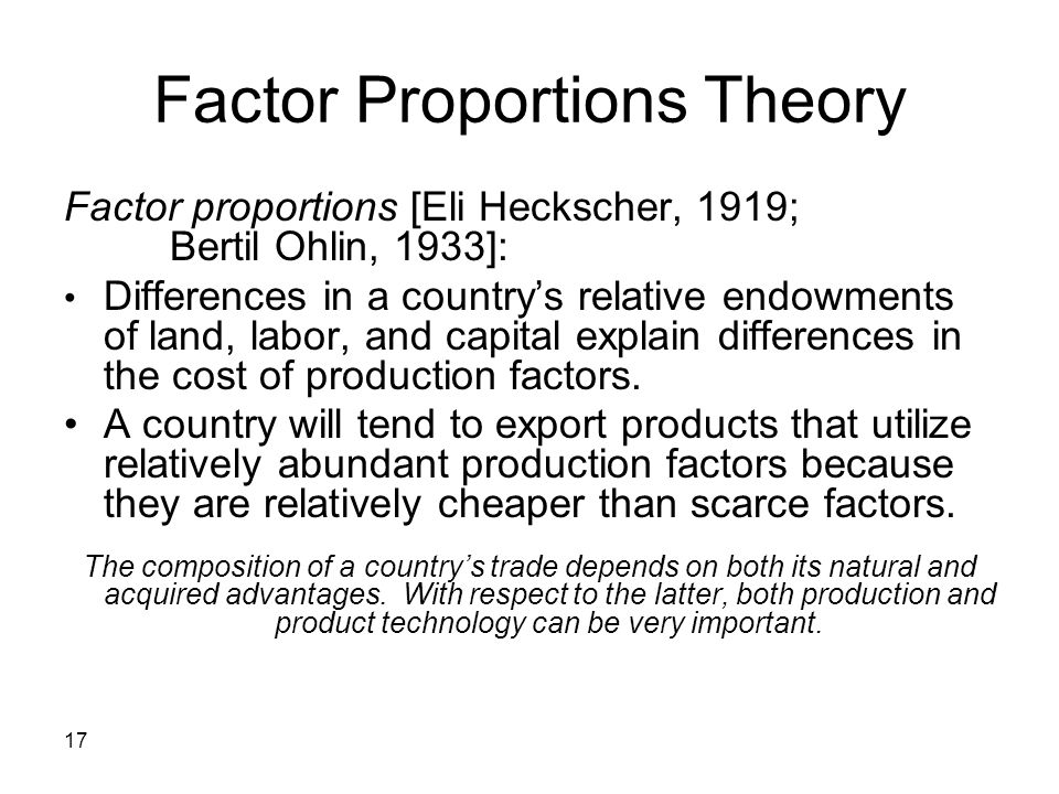 Factor Proportions Theory